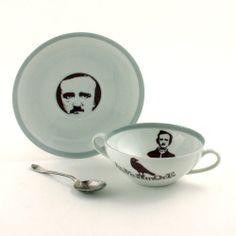 Edgar Allan Poe coffee set, mug and cereal bowl dishware by Monika Diamantopoulou