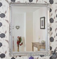 Large classic antique-style wall mirror is a fantastic statement piece for any room from the dining room to the bedroom. This mirror has a bevelled glass size of x x and has an overall size of 8 x 8 x Silver Wall Mirror, Beveled Glass, Oversized Mirror, Dining Room, Bedroom, Antiques, Classic, Design, Home Decor