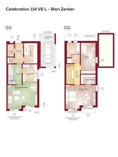 Doppelhaushälfte Grundriss Schmal Mit Pultdach Architektur Und Carport    Doppelhaus Modern 3 Zimmer, Küche Offen