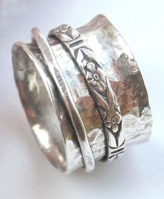 Forged Sterling Silver Spinning Ring made by susanlambertdesigns