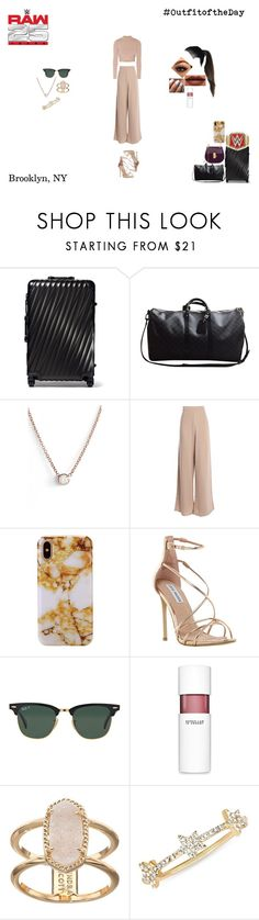 """""""Outfit of The Day"""" by caramara3 ❤ liked on Polyvore featuring Tumi, Louis Vuitton, WWE, ZoÃ« Chicco, Jonathan Simkhai, Steve Madden, Anastasia Beverly Hills, Ray-Ban, 10 Crosby Derek Lam and Kendra Scott"""