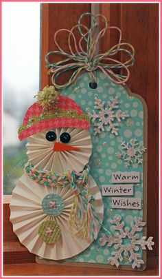 Tag-Kathleen Kelley Skou-Warm Winter Wishes--Cute,cute--love all her Bakers Twine loops at the top--and that little scarf is adorable!!!   :-)