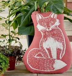 Woodblock Fox Cushion