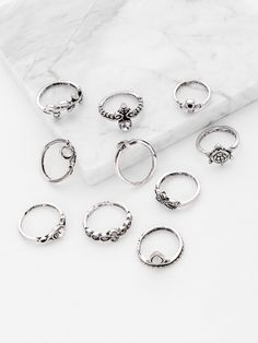 Shop Starfish And Tortoise Design Ring Set online. SheIn offers Starfish And Tortoise Design Ring Set & more to fit your fashionable needs. Stylish Jewelry, Cute Jewelry, Jewelry Accessories, Fashion Jewelry, Women Jewelry, Silver Hoop Earrings, Silver Jewelry, Bling Bling, Romwe