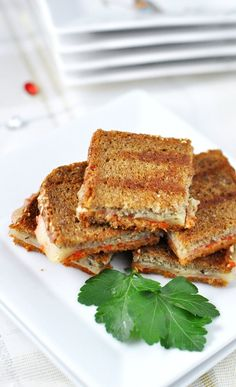 Mini Grilled Cheese with Roasted Red Pepper & Pesto Sandwiches