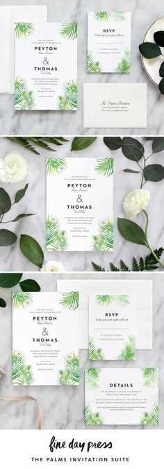 Modern tropical wedding invitations featuring lush watercolor palms and chic typography from Fine Day Press. Shop this and more modern invitation designs in our shop!