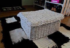 DIY - Zrób to sam, Handmade, Upcykling, Moda, Dekoracje, Inspiracje: Zamykane pudełko z papierowej wikliny na szaliki D...