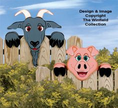 Pig & Goat Fence Peekers Wood Pattern