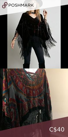 Free People Janis Poncho Absolutely stunning velvet and fringe poncho, needs a new home. Its in perfect condition! Free People Sweaters Shrugs & Ponchos Hooded Poncho, Poncho Sweater, Wrap Sweater, Free People Kimono, Ugg Bailey Button, Michael Kors Selma, Cropped Hoodie, Absolutely Stunning, Plus Fashion