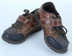 Carters Shotgun II Toddler Boys Brown Shoes Size 9 M Hook Loop and Tie Close #Carters #CasualShoes