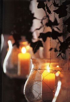 Lovely hanging candles in the garden Hanging Candles, Candle Lanterns, Candle Jars, Candle Holders, Hurricane Lanterns, Light My Fire, Light Up, Bougie Partylite, Romantic Candles