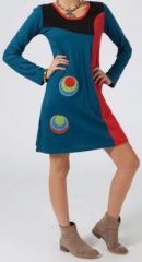 Robe ethnique et originale pas chère Bleue Marianne est sur le site www.akoustik-online.com.
