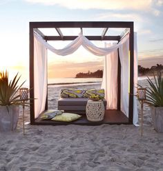 The Marcus Cabana: branches across top and curtains on 3 sides could serve as sukkah