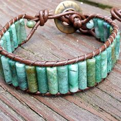African Jade Cuff Bracelet  Brown Leather by ElectricPenguin, $30.00
