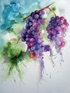 Grapes - Watercolour Florals by Yvonne Harry (includes informative discussions of how her paintings were done). Watercolor Fruit, Watercolour Painting, Watercolor Flowers, Painting & Drawing, Watercolors, Watercolor Video, Watercolor Pictures, L'art Du Fruit, Fruit Art