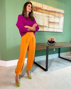 Perfect outfit idea to copy ♥ For more inspiration join our group Amazing Things ♥ You might also like these related products: - Tops & Tees ->. Color Blocking Outfits, Color Combinations For Clothes, Colour Blocking Fashion, Fashion Mode, Look Fashion, Autumn Fashion, Fashion Colours, Colorful Fashion, Classy Outfits