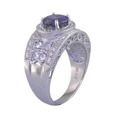 1.50 CT Iolite  Diamond Ring in Sterling Silver -