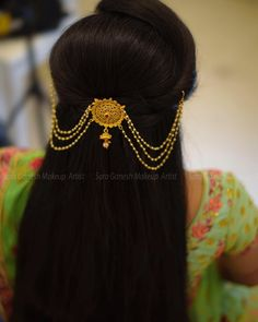 Image may contain: one or more people - All For Bridal Hair Bridal Hairstyle Indian Wedding, Bridal Hair Buns, Indian Bridal Hairstyles, Indian Wedding Jewelry, Saree Hairstyles, Bride Hairstyles, Hairstyle Ideas, Jewelry Design Earrings, Hair Jewelry