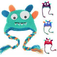Cheap Lindo monstruos diseños Winter Warm Cotton Children bebé de los cabritos Crochet gorras de regalo, Compro Calidad Sombreros y Gorras directamente de los surtidores de China:  Lindo Monsters diseños de invierno algodón caliente de los niños cabritos del bebé del ganchillo sombreros de regalo de