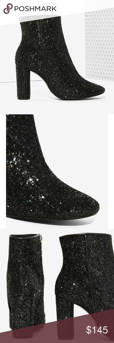 """NASTY GAL Stardust Black Glitter Booties 36 """"This baby was made for the limelight. The Stardust Bootie is black and features a glitter exterior, pointed toe, and inside zipper. Fully lined. Pair it with leather short shorts, a sheer button-up, and your best dance moves. By Crosswalk."""" Worn once, excellent condition! Nasty Gal Shoes Ankle Boots & Booties"""