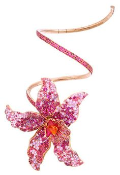 Nuun, Lumière collection, Orchidée bracelet in rose gold with 6 cts of rubies, 23.90 cts of pink sapphires, spinels and spessartite garnets