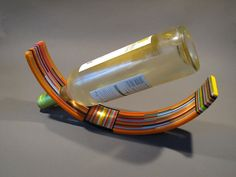 Slumped Fused Glass Wine Bottle Holder by ChakraArtGlass on Etsy