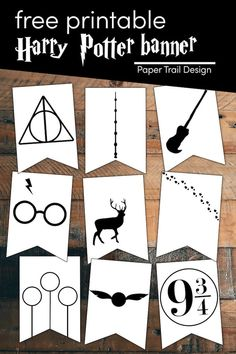 Decorate for a Harry potter party with this free printable Harry Potter banner including quidditch, snitch, 9 3/4, stag, scar, broom, elder want, and deathly hallows. First Birthday Parties, Birthday Party Decorations, First Birthdays, Party Themes, Party Ideas, Harry Potter Banner, Harry Potter Hogwarts, Paper Trail, Snitch