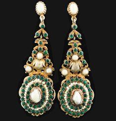 Antique Vermeil Pearl Emerald Austro-Hungarian Earrings