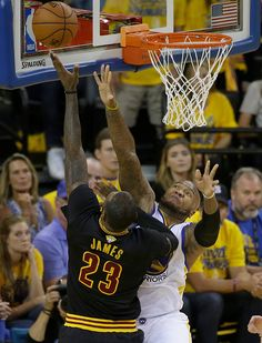 Cleveland Cavaliers forward LeBron James shoots against Golden State  Warriors forward Marreese Speights during the first half of Game 7 of  basketball s NBA ... c5451231e