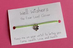 ♥ The message on the card is inspired by the charm and what it symbolises. For example : The Four Leaf Clover - Keep me on your wrist you bring you Fame, Wealth, Love and Health Friendship Gifts, Four Leaf Clover, Good Luck, Travel Gifts, Party Favors, Birthdays, My Etsy Shop, Greeting Cards, Place Card Holders