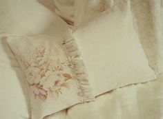 Romantic Vintage 1930s Pale Muted Floral English Roses Winter White Barkcloth and French Linen Fabric Pillow