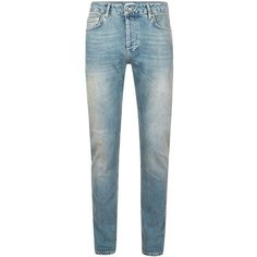 TOPMAN Mid Wash Blue Stretch Slim Jeans (150 BRL) ❤ liked on Polyvore featuring men's fashion, men's clothing, men's jeans, blue, mens slim fit jeans, mens blue jeans, mens slim fit stretch jeans, mens stretchy jeans and mens slim cut jeans