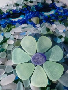 sea glass art: an owl and flower