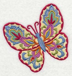 Suzani Butterfly. Bright colors make this butterfly machine embroidery design a must-have. Picture it on quilts, bags, pillows, and more.