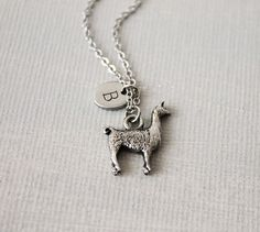 Llama Necklace. antique silver llama with personalized Initial charm Reidy