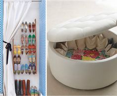 shoe ottoman. The Lilly Pulitzer Home Rousseau Ottoman, shown above right, is outfitted to store sixteen pairs.