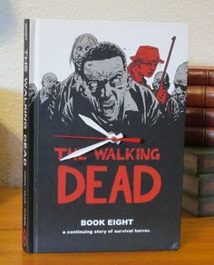 Walking Dead Graphic Novel Book Clock by MyBooklandia @Etsy  book planter, planter, upcycle, books, handmade, book, gift for book lover, gift for librarian, gift for teacher, book theme, gift for birthday, gift for holiday, gift for Christmas,library, librarian, book lover, Made in the USA, My Booklandia, Stacked Book Décor, Décor, Upcycled Books, Upcycled Book Décor, style, home, literary, words, inspiration, design