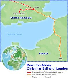 Downton Abbey Christmas Ball with London itinerary map. London Tour Packages, Christmas in London - Friendly Planet