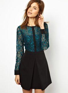 Vestido encaje contraste negro-verde EUR€27.79