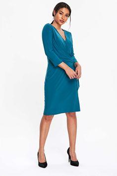 aa2c9523714 Teal Wrap Dress. Carousel Image 1