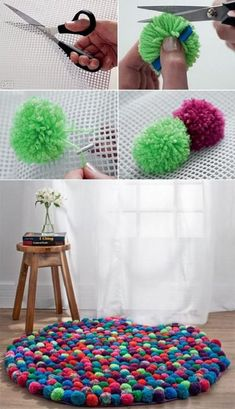 DIY Pompom Rug - iCreatived Cut mat into different shapes DIY Pompom Rug Love this DIY home decor project using pom poms! DIY Pompom Rug - omg I want to make one for C I have a pom-pom maker. It's all about the colour choice. Diy Pom Pom Rug, Pom Pom Crafts, Pom Poms, Crafts For Teens, Fun Crafts, Diy And Crafts, Art Diy, Creation Deco, Ideias Diy