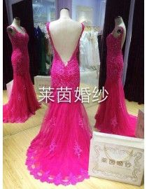 Stunning fuchsia sweetheart strap shoulders mermaid lace appliques evening prom dresses LY-234