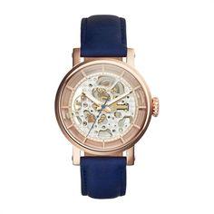 Damenuhr Fossil blau roségold boyfriend Style ME3086 https://www.thejewellershop.com/ #fossil #damenuhr #blau #leder #rosé #woman #watch #uhren #boyfriend #uhr #jewelry #schmuck