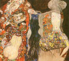 """La novia, 1918: """"...La fascinación llega mucho más de una pintura- inacabado este retrato lo más probable es la pintura más expresionista de Gustav Klimt. ..."""""""
