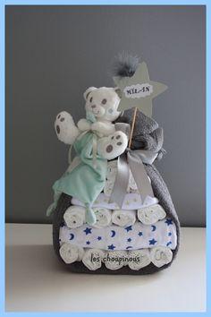 Cadeau bébé garçon naissance baptême gâteau de couches : Décoration pour enfants par les-choupinous