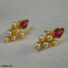 Pearl bunch earrings for tanmani Jewelry Design Earrings, Gold Earrings Designs, Gold Jewellery Design, Ear Jewelry, Necklace Designs, Silver Jewelry, Handmade Jewellery, Diamond Jewellery, Jewlery