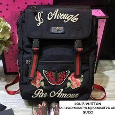 aa14c0757208 Gucci Backpack with Butterfly and Flower Embroidery 2017     Real Bag Sale