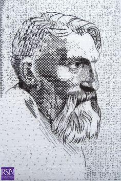 Design based on a portrait of Rodin by Alphonse Legros