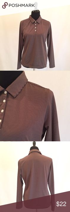 Nike Golf Fitdry Long Sleeve Polo Shirt New Without Tag- Brown and white Nike Golf Fitdry long sleeve polo shirt. Never worn. Nike Tops