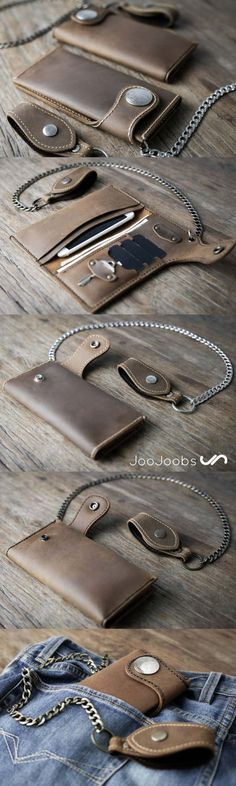 Biker Chain Wallet.  This leather biker, chain wallet is hand-stitched, handmade excellence.  Made from distressed leather, it will form a patina very quickly. Its designed to last a very long time. (maybe longer than you)